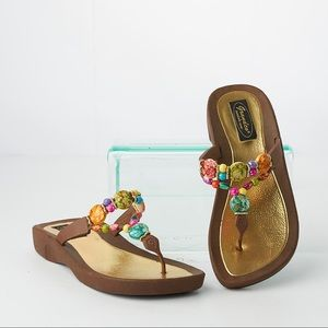 Grandco Expressions Multi-Colored Thong Sandals 7M